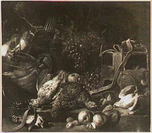 Stilleven van vruchten en gevogelte, rechts een kat