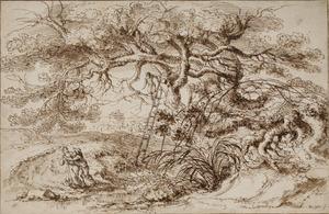 Grote boom in landschap met drie figuren