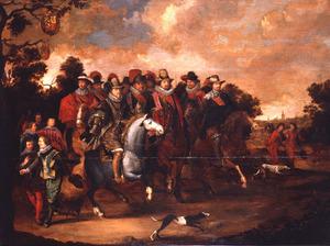 Ruiterstoet met prinsen van Oranje en graven van Nassau