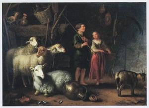 Schapenstal met herdersjongen  en meisje