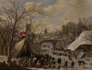 Winterlandschap met vele figuren op een bevroren gracht