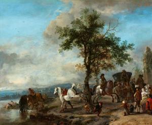 Landschap met ruiters, reizigers en een koets bij een drenkplaats bij een rivier
