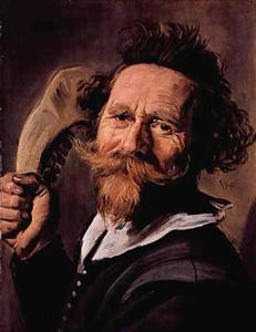Portret van een man met het kaakbeen van een koe in zijn hand