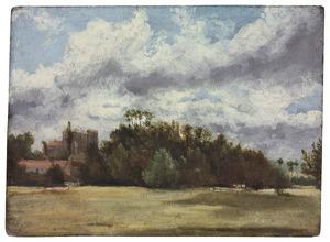Boslandschap met vee en gebouwen