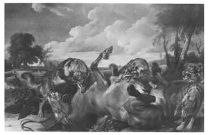 Paard, door wolven aangevallen