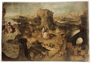 De verzoeking van de H. Antonius met links de H. Christoforus