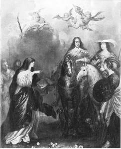 Karel I en Henriette Maria van Engeland met  allegorische figuren
