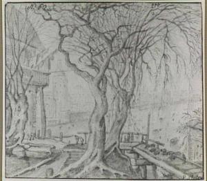 Stad aan een rivier, op de voorgrond bomen