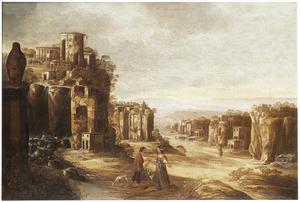 Zuidelijk landschap met de ontmoeting van Granida en Daifilo (?)