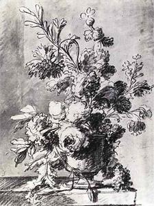 Bloemstilleven in een vaas op een plint