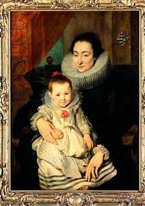 Portret van een vrouw  mogelijk Maria Clarissa, tweede echtgenote van Johannes Woverius/Van de Wouwer, met haar kind,