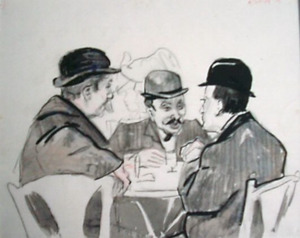 Drie mannen in een café