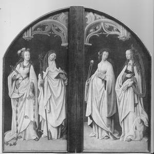 De HH. Apollonia en Gertrudis van Nijvel (links); de HH. Agatha en Agnes (rechts)