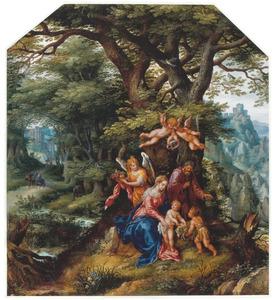 De Heilige Familie met Johannes de Doper als kind en engelen. In de achtergrond de vlucht naar Egypte