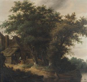 Bebost landschap met figuren bij een boerderij aan het water