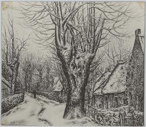 Dorpsweg in de sneeuw