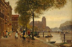 Bloemenmarkt aan de haven van Dordrecht