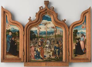 De H. Petrus met stichter (binnenzijde linkerluik), de kruisiging (middenpaneel), de H. Jacobus de Meerdere met stichtster (binnenzijde rechterluik)