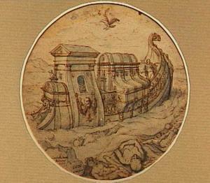 Noach zendt voor de derde keer een duif uit. Deze keert terug met een olijftak in de bek (Genesis 8)