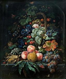 Rieten mand met vruchten in een nis