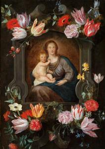 Maria met kind in een gebeeldhouwde cartouche, versierd met bloemen