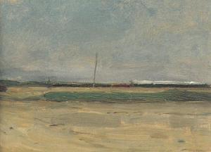 Open landscape, train along the horizon