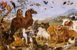 De dieren gaan naar de Ark van Noach