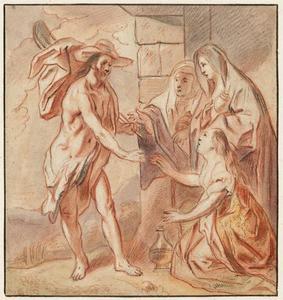 'Noli me tangere'en de wederopgestane Christus die de drie Maria's ontmoet aan het open graf (Matteüs 28:1-10)