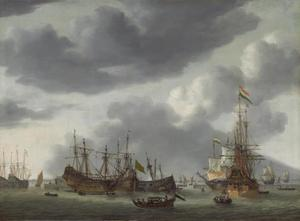 Hollandse schepen voor anker bij een scheepswerf