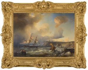 Woelige zee met schepen bij kust
