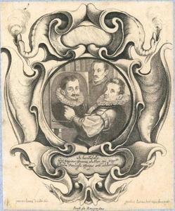 Cartouche met portretten van Paulus van Vianen (1570-1613), Hans von Aachen (1552-1616) en Adriaen de Vries (1556-1626)