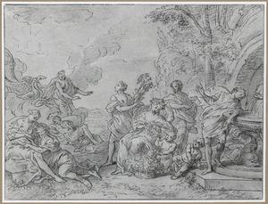 Venus beweent Adonis; het rijk van Flora
