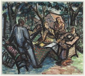 Kunstschilders (Wijnberg, Kurpershoek, Van Norden en Fiedler) rond een tafel in de tuin