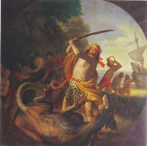 Fridlev, zoon van Koning Frode III, doodt een draak