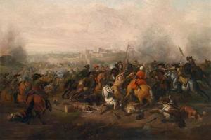 Kavalariegevecht tussen Turkse en Westerse troepen