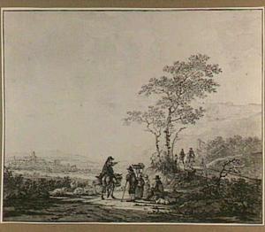 Heuvellandschap met marktkooplui, herders en ruiters