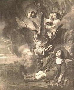 In Jacobs droom dalen engelen via een wolkentrap af uit de hemel naar de aarde (Genesis 28:10-12)