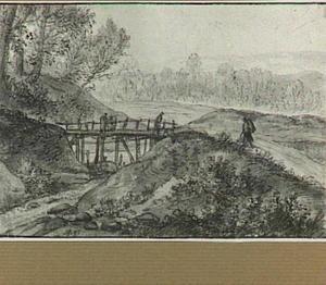 Landschap met houten burg