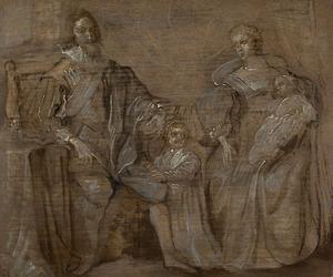 Familieportret van Karel I Stuart (1600-1649), koning van Engelend en Henriëtta Maria de Bourbon, koningin van Engeland (1609-1669) met hun twee oudste kinderen Karel 1630-1685) en Maria (1631-1660), met op de achtergrond de Theems bij Westminster