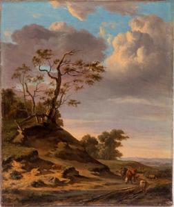 Duinlandschap met vee op een karrenspoor