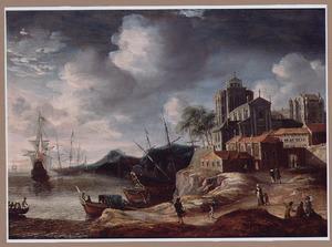 Zuidelijke haven met driemasters en een jacht en wandelaars op de weg naar een stad
