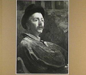 Zelfportret in blauwe schilderskiel
