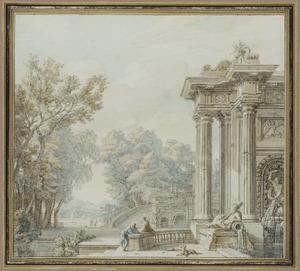 Portico met terras, fontein en brug in een parklandchap