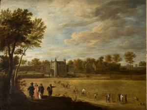 Zicht op kasteel Drij Toren tijdens de oogst