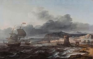 Nederlandse koopvaardijschepen voor een mediterrane kust met de vuurtoren van Genua in de achtergrond