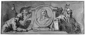 De apostelen Petrus, Paulus, Jacobus de Meerdere en Matthias rond het hoofd van Christus