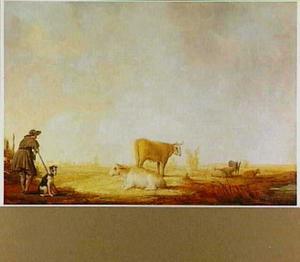 Landschap met een rustende herder en zijn hond bij een