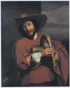 Portret van François Langlois gekleed als 'savoyard', spelend op een musette