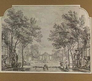 Parklandschap met vijver, fonteinen en sculpturen