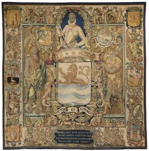Heraldisch wandtapijt met het portret van Willem van Oranje boven het wapen van Zeeland